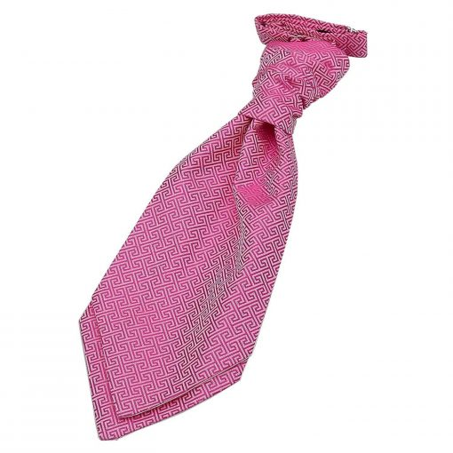 Fuchsia Pink Greek Key Pre-Tied Wedding Cravat for Boys