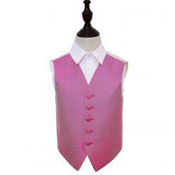 Fuchsia Pink Greek Key Wedding Waistcoat for Boys
