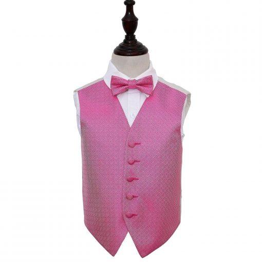 Fuchsia Pink Greek Key Wedding Waistcoat & Bow Tie Set for Boys