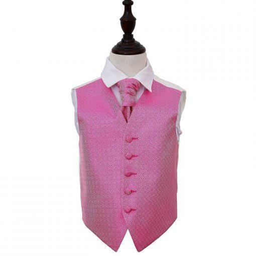 Fuchsia Pink Greek Key Wedding Waistcoat & Cravat Set for Boys