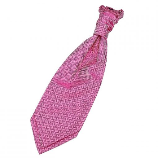 Fuchsia Pink Greek Key Pre-Tied Wedding Cravat