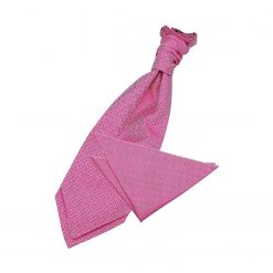 Fuchsia Pink Greek Key Wedding Cravat & Pocket Square Set