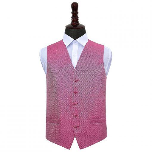 Fuchsia Pink Greek Key Wedding Waistcoat
