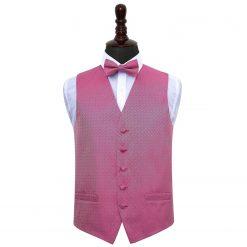 Fuchsia Pink Greek Key Wedding Waistcoat & Bow Tie Set