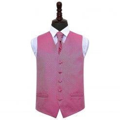 Fuchsia Pink Greek Key Wedding Waistcoat & Cravat Set