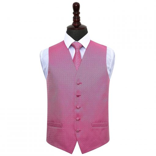 Fuchsia Pink Greek Key Wedding Waistcoat & Tie Set