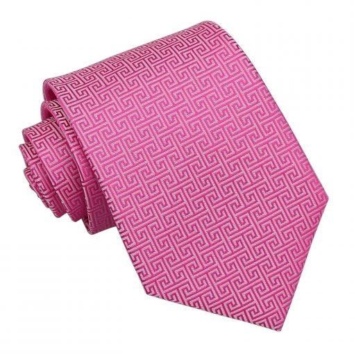 Fuchsia Pink Greek Key Classic Tie