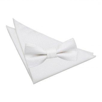 Ivory Greek Key  Bow Tie & Pocket Square Set
