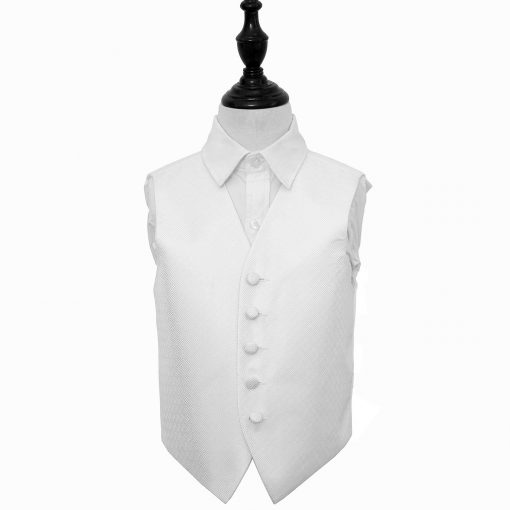 Ivory Greek Key Wedding Waistcoat for Boys