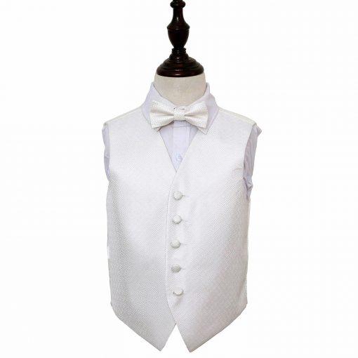 Ivory Greek Key Wedding Waistcoat & Bow Tie Set for Boys