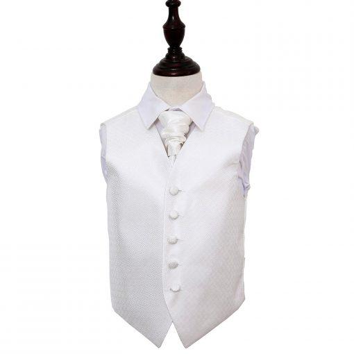 Ivory Greek Key Wedding Waistcoat & Cravat Set for Boys