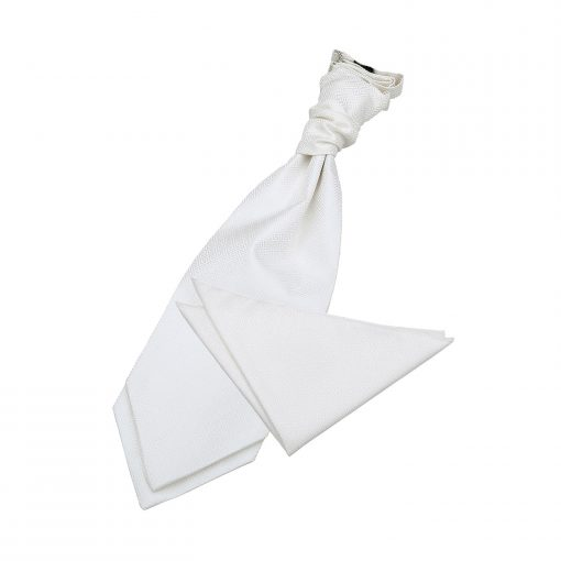 Ivory Greek Key Wedding Cravat & Pocket Square Set