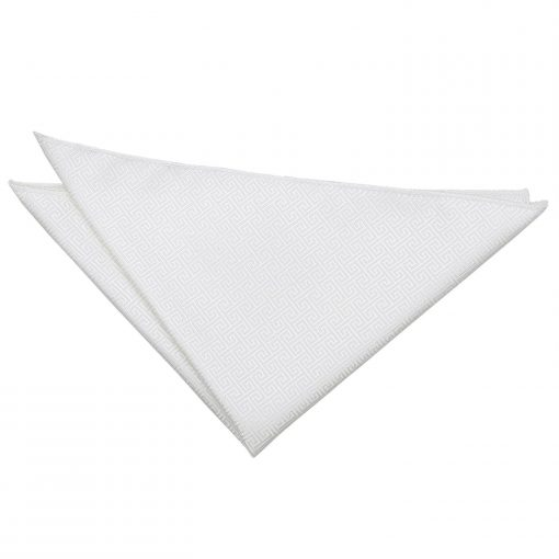Ivory Greek Key Handkerchief / Pocket Square