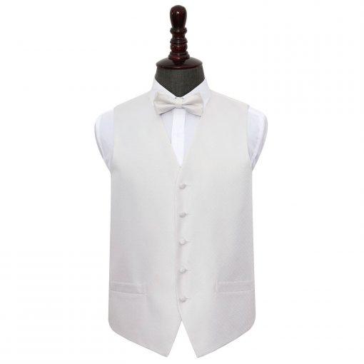Ivory Greek Key Wedding Waistcoat & Bow Tie Set