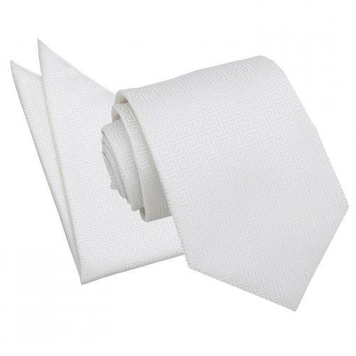 Ivory Greek Key Tie & Pocket Square Set