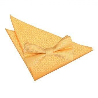 Marigold Greek Key Bow Tie & Pocket Square Set