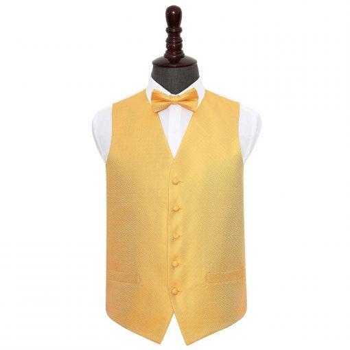 Marigold Greek Key Wedding Waistcoat & Bow Tie Set