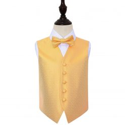 Marigold Greek Key Wedding Waistcoat & Bow Tie Set for Boys