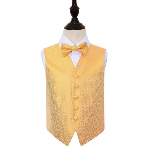 Marigold Greek Key Wedding Waistcoat & Bow Tie Set for Boys