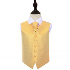 Marigold Greek Key Wedding Waistcoat & Cravat Set for Boys
