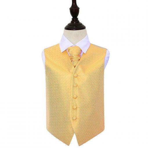 Marigold Greek Key Wedding Waistcoat & Cravat Set for Boys