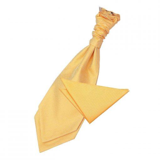 Marigold Greek Key Wedding Cravat & Pocket Square Set