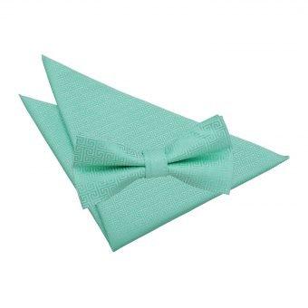 Mint Green Greek Key Bow Tie & Pocket Square Set
