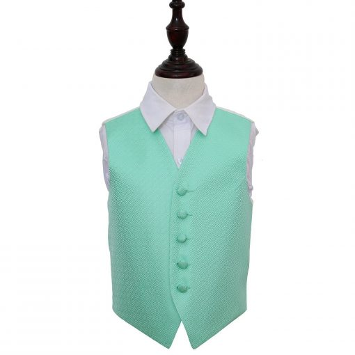 Mint Green Greek Key Wedding Waistcoat for Boys