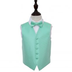 Mint Green Greek Key Wedding Waistcoat & Bow Tie Set for Boys