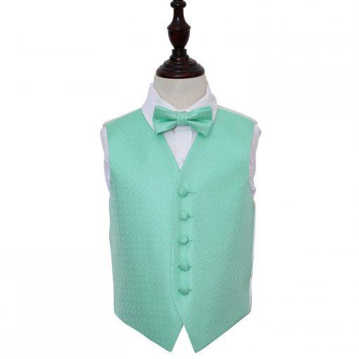 Mint Green Greek Key Wedding Waistcoat & Bow Tie Set for Boys