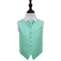 Mint Green Greek Key Wedding Waistcoat & Cravat Set for Boys