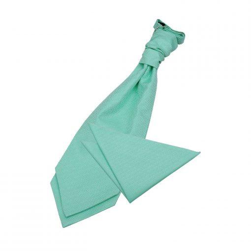 Mint Green Greek Key Wedding Cravat & Pocket Square Set