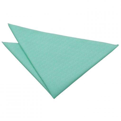 Mint Green Greek Key Handkerchief / Pocket Square