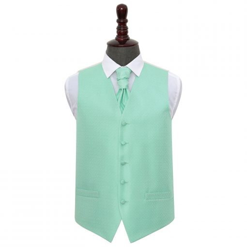 Mint Green Greek Key Wedding Waistcoat & Cravat Set