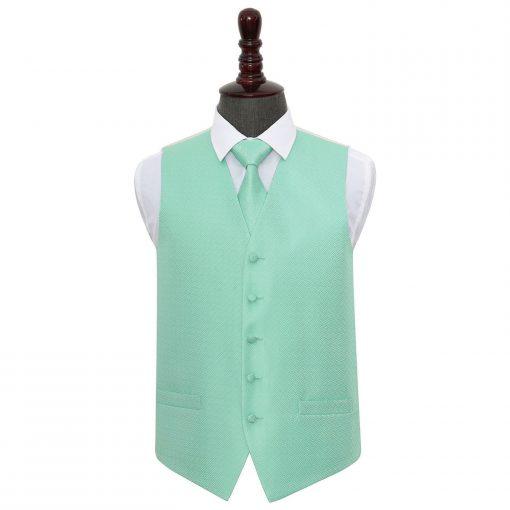 Mint Green Greek Key Wedding Waistcoat & Tie Set