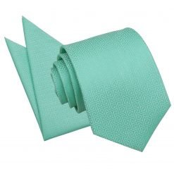 Mint Green Greek Key Tie & Pocket Square Set