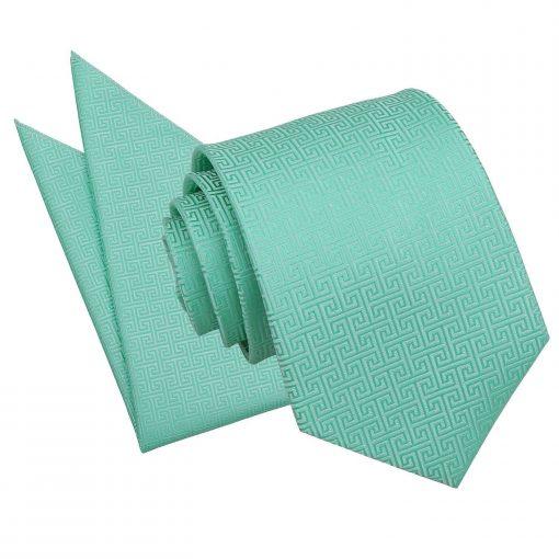 Mint Green Greek Key Tie & Pocket Square Set