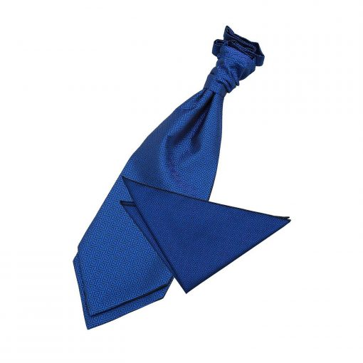 Royal Blue Greek Key Wedding Cravat & Pocket Square Set