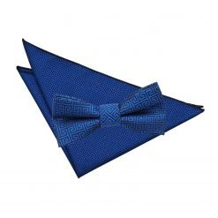 Royal Blue Greek Key  Bow Tie & Pocket Square Set