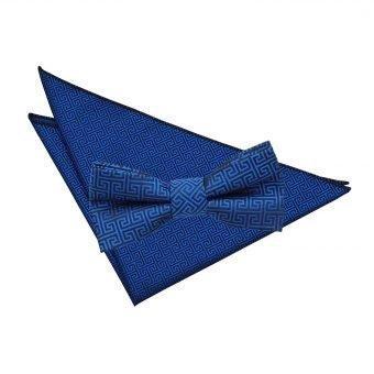 Royal Blue Greek Key  Bow Tie & Pocket Square Set