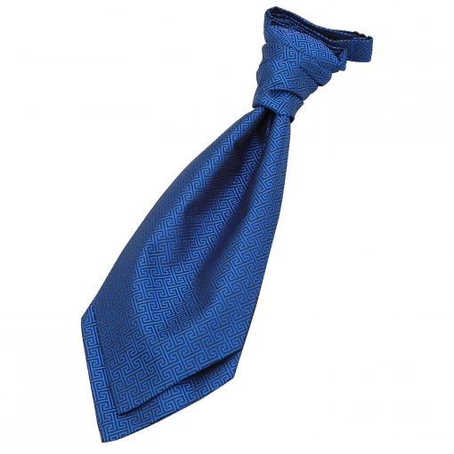 Royal Blue Greek Key Pre-Tied Wedding Cravat for Boys