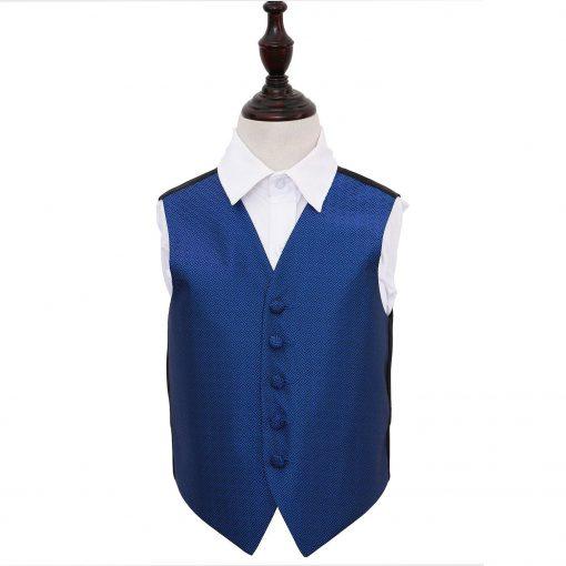 Royal Blue Greek Key Wedding Waistcoat for Boys