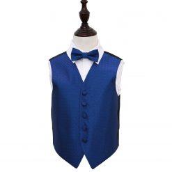 Royal Blue Greek Key Wedding Waistcoat & Bow Tie Set for Boys