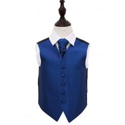 Royal Blue Greek Key Wedding Waistcoat & Cravat Set for Boys