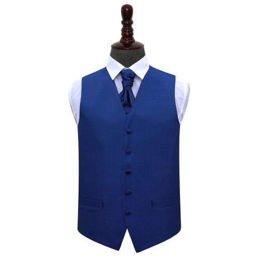 Royal Blue Greek Key Wedding Waistcoat & Cravat Set