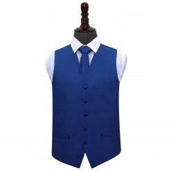 Royal Blue Greek Key Wedding Waistcoat & Tie Set