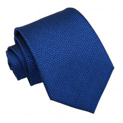 Royal Blue Greek Key Classic Tie