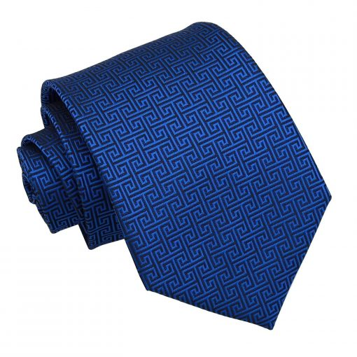 Royal Blue Greek Key Classic Tie