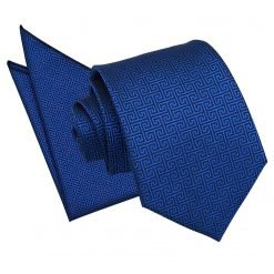 Royal Blue Greek Key Tie & Pocket Square Set