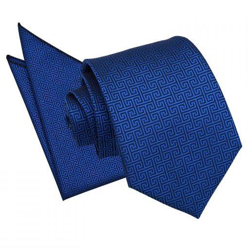 Royal Blue Greek Key Tie & Pocket Square Set